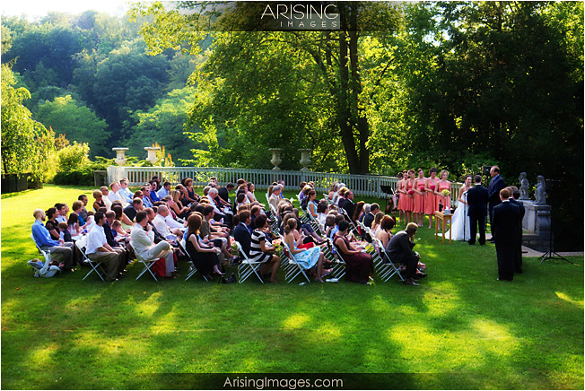 cranbrook wedding ceremony on lawn behind cranbrook house