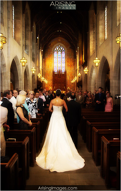 bride walking down the aisle at Christ Church Cranbrook