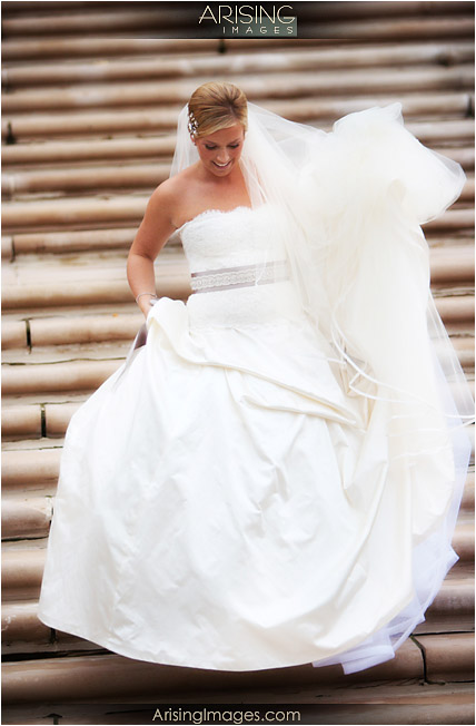 bride on the steps at the cranbrook art museum