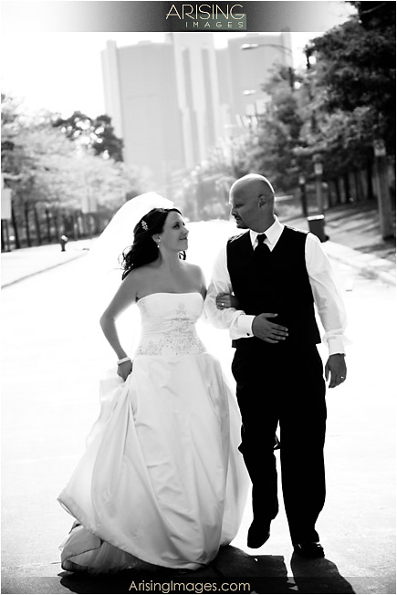 Wedding picture in downtown Detroit, Michigan