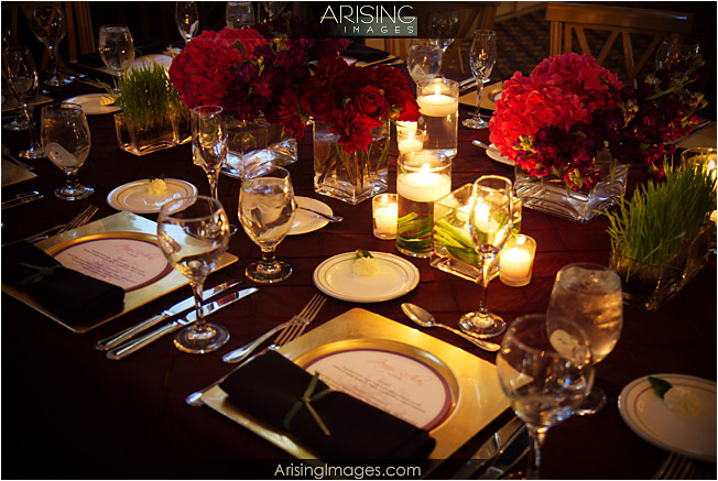square plates at wedding reception