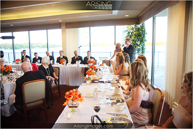 head table by the windows overlooking pine lake