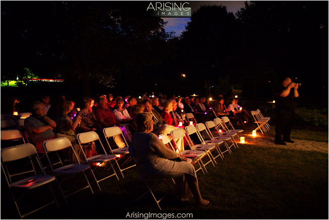 guests at moonlight wedding ceremony