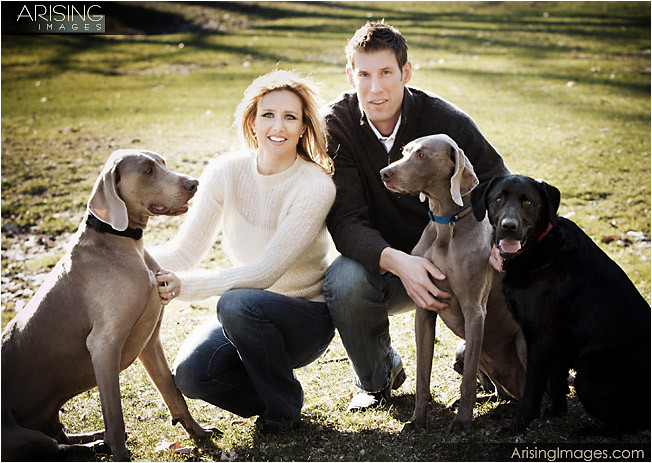 chad and stacey at dodge park with their dogs
