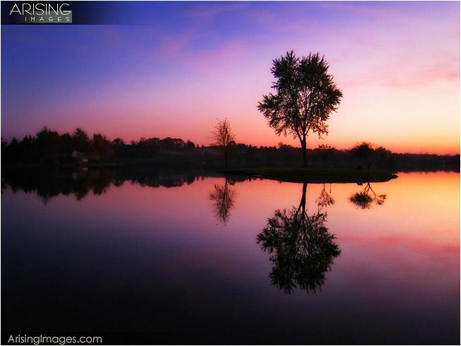 sunset over lake metamora