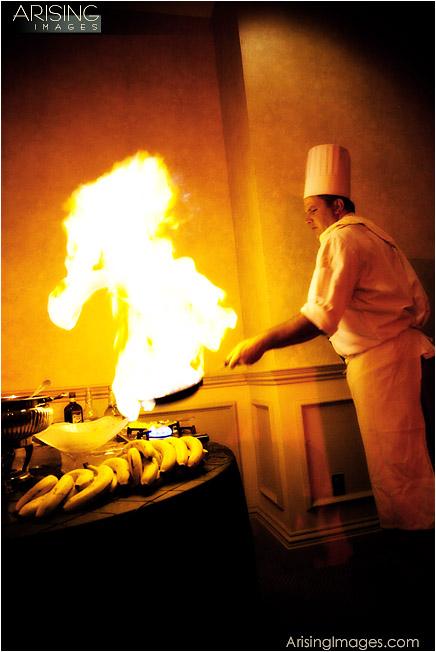 frying bananas at wedding reception
