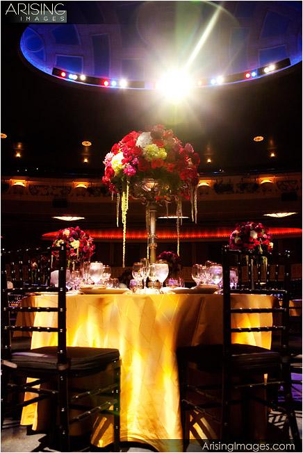 wedding reception setup at the opera house in detroit, mi
