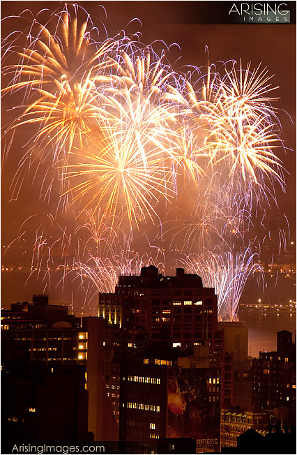fireworks in new york city from rooftop