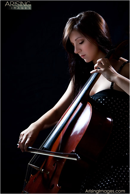 high school senior photos with musical instruments and cello