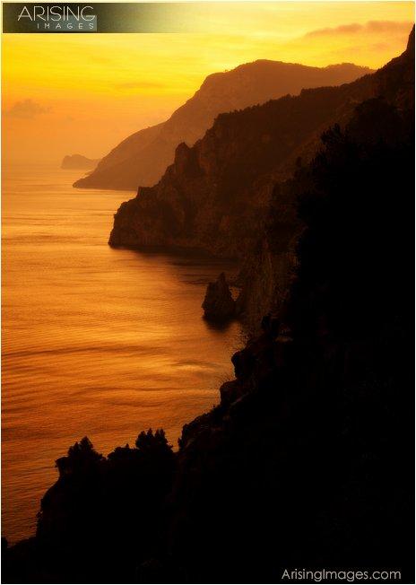 Amalfi coast sunset west of Positano