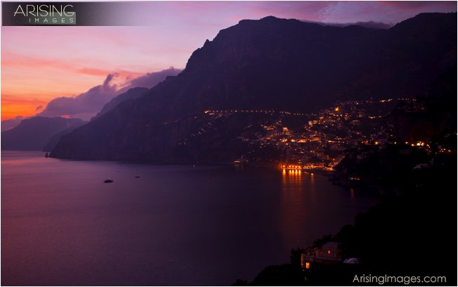 Amalfi coast sunrise with Positano in the distance