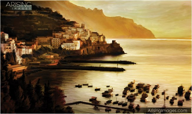 painting of the amalfi coast in Italy