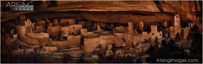 painting of cliff palace in mesa verde national park, colorado