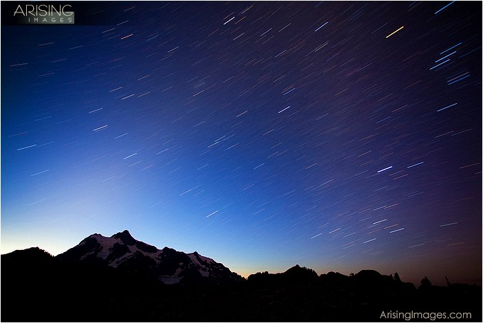 star trails over mt. shuksan, WA