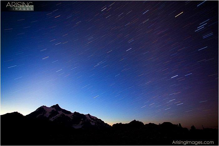 star trails over mt. shuksan, WA