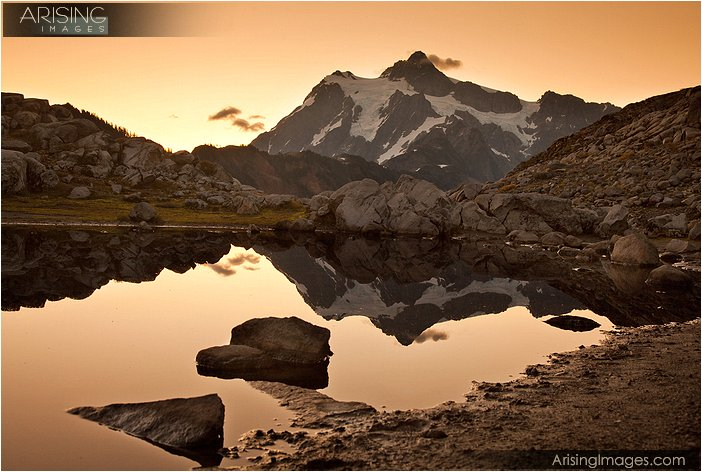 reflection of mt. shuksan at sunrise at artists point highway 542, WA