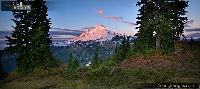 first pink light on mt. baker from artists point