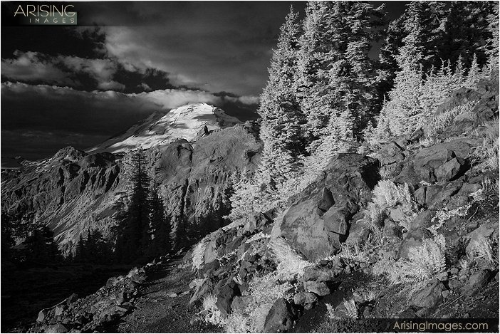 infrared photo of mt. baker, washington
