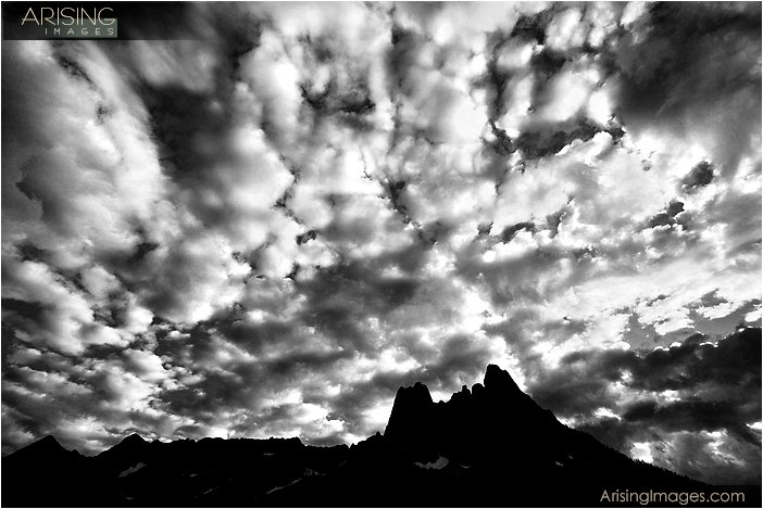 dramatic sky over liberty bell mountain at washington pass near the north cascades national park