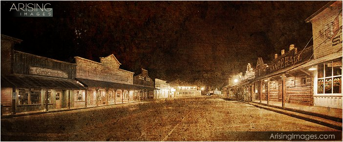 old west town of winthrop, wa at night