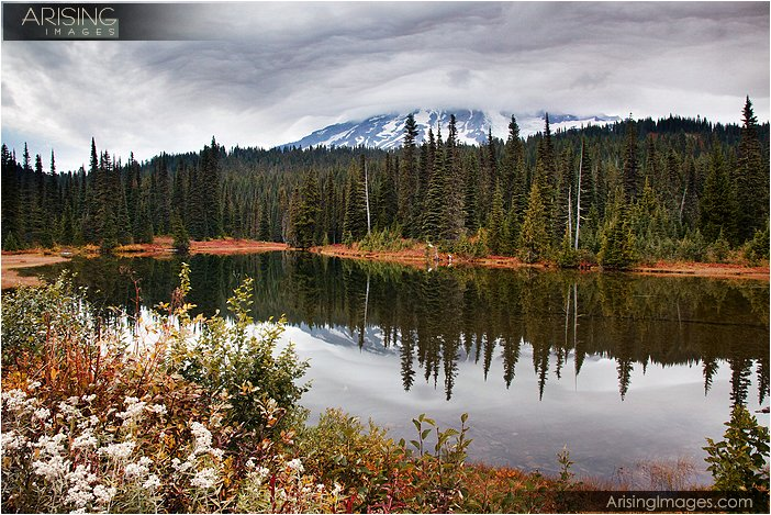 rain clouds at Mt. Rainier from Reflection Lakes in Mt. Rainier National Park
