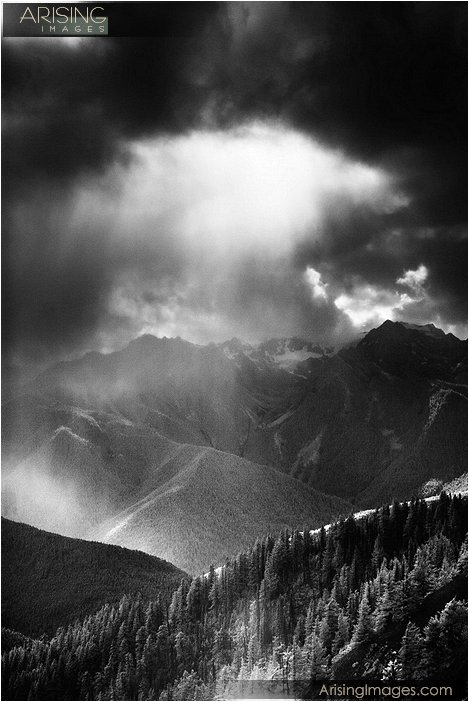 infrared photography of dramatic clouds on top of hurricane ridge in olympic national park in washington
