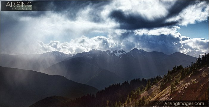 olympic mountains and dramatic clouds on top of hurricane ridge in olympic national park in washington