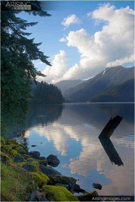 Lake Crescent reflection in olympic national park in washington