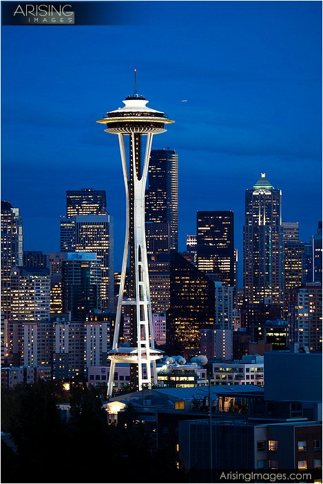 the seattle space needle photographed from the queen anne district