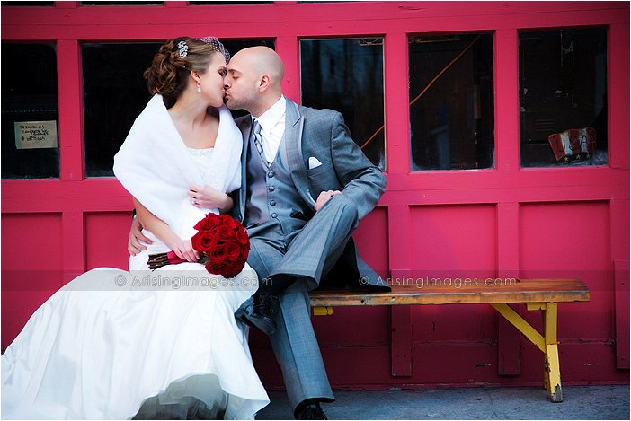 urban colorful wedding photos with textured backgrounds in michigan