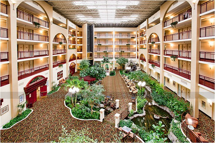 atrium at embassy suites in livonia, mi
