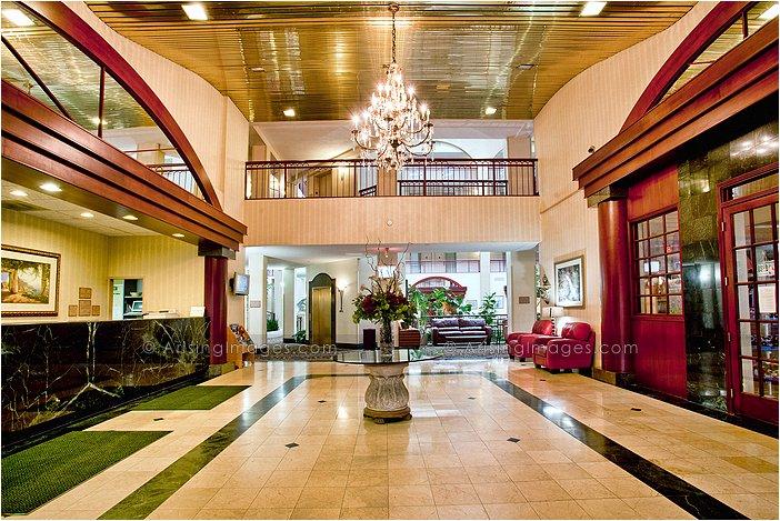 main lobby of embassy suites in novi, mi