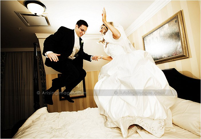 michigan bride and groom having fun at their wedding