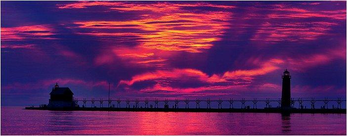 sunset in grand haven, MI