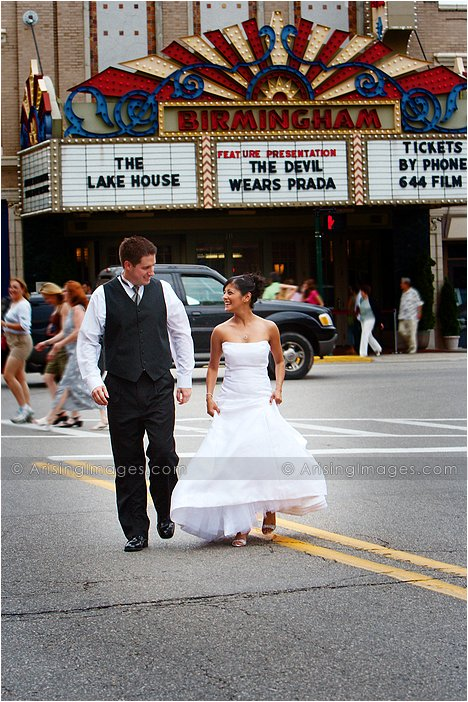 fun wedding photography in downtown birmingham, MI