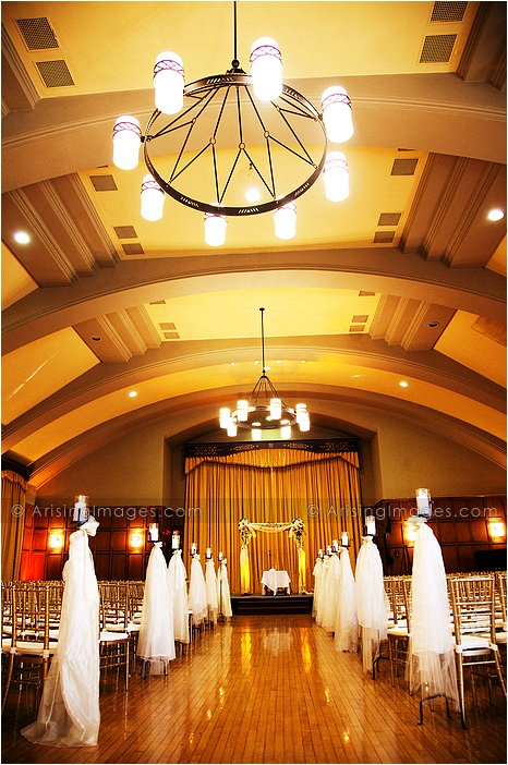 beautiful indoor wedding ceremony photography at michigan league