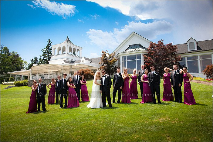 outdoor wedding party pictures at orchard lake country club, MI