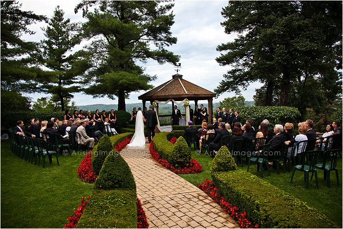 outdoor wedding ceremony at pine knob mansion