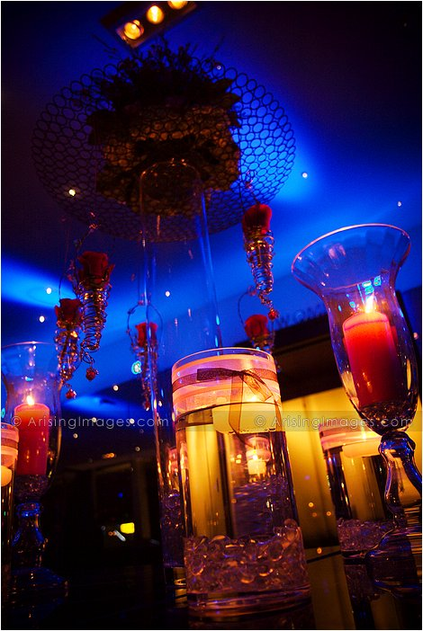 amazing lighting at indoor wedding at roostertail detroit