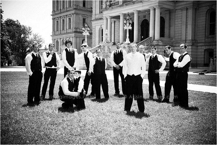 wedding party pictures in downtown lansing, MI