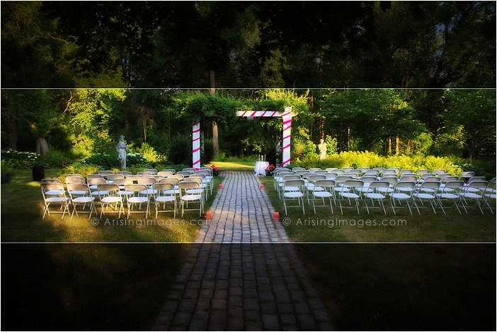 outdoor michigan wedding ceremony photography at wellers' carriage house