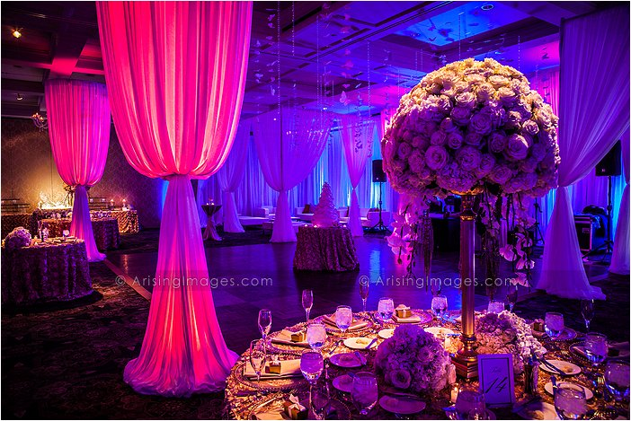 wedding photography of gorgeous lighting at wedding reception