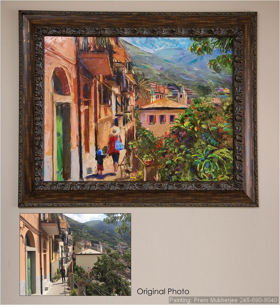 Painting of mom and son in Italy