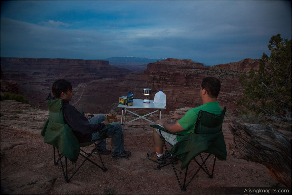 clifftop dinner at canyonlands national park