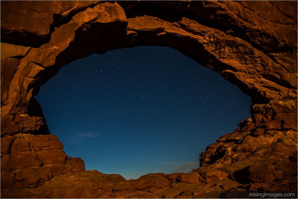 stars through the north window in arches national park