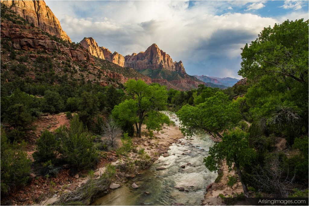 sunset over the watchman in zion national park