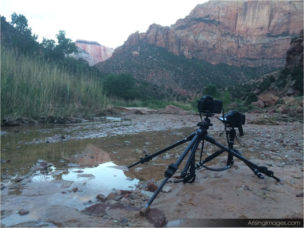 zion canyon sunrise behind the scenes