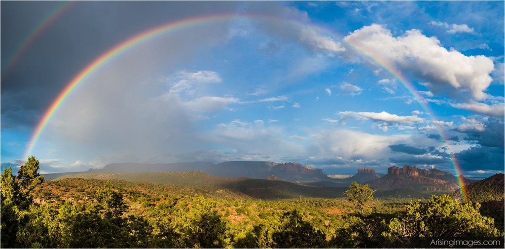 rainbow over red rock in sedona, az
