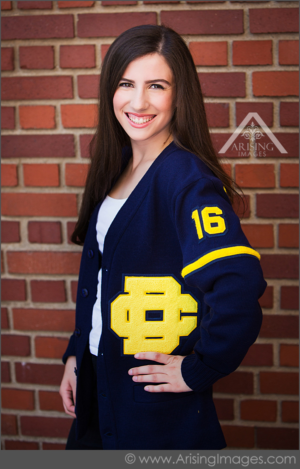 Senior Pictures with Letterman Sweater