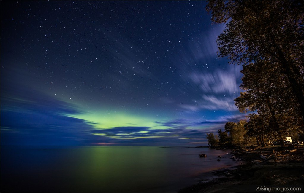 Night sky in northern, mi.  aurora borealis